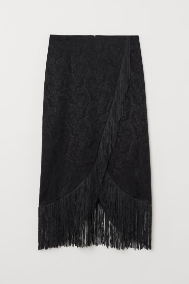 Skirt with fringing - Black/Paisley patterned - Ladies | H&M