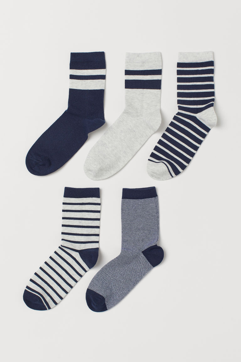 5-pack socks - Light grey marl/Striped - Kids | H&M IE