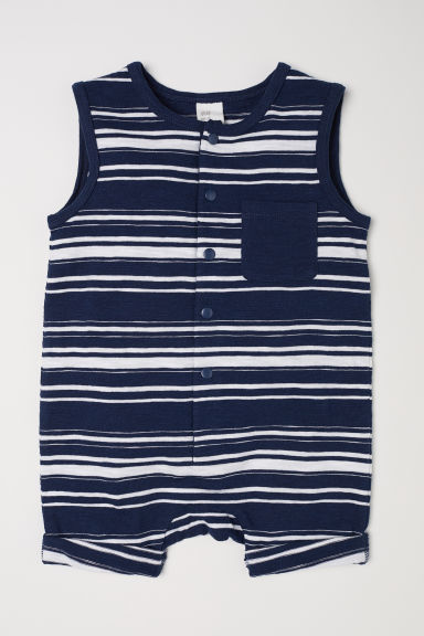 Sleeveless jersey romper - Dark blue/Striped -  | H&M CN