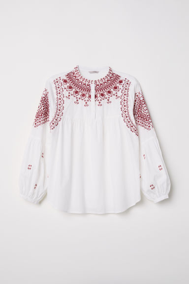 H&M+ Blouse with embroidery - White - Ladies | H&M CN