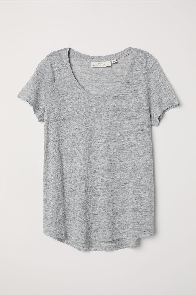 3be43f5d4ec7 T-shirt en lin - Gris clair chiné - FEMME