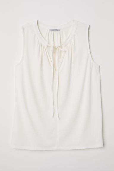 Jersey blouse with a tie - Cream - Ladies | H&M CN