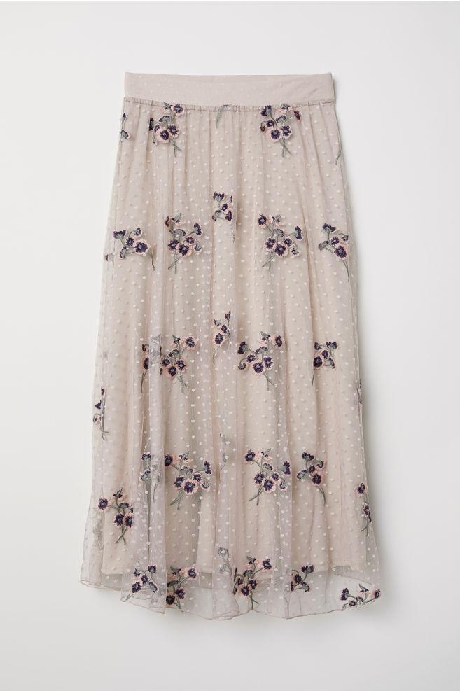 120743e3054b80 Embroidered mesh skirt - Light beige - Ladies   H&M ...