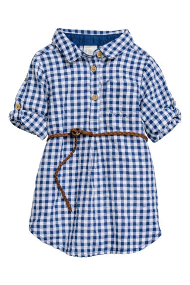 Cotton shirt dress - White/Blue checked -  | H&M