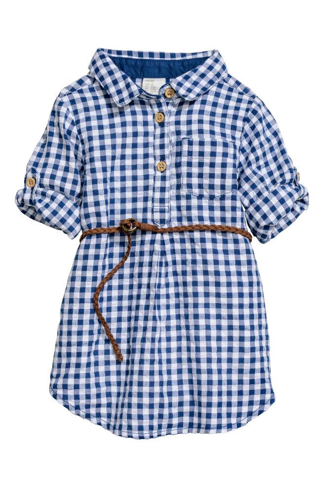 b280ab8b8f84 Bavlnené košeľové šaty - biela modrá károvaná - DETI
