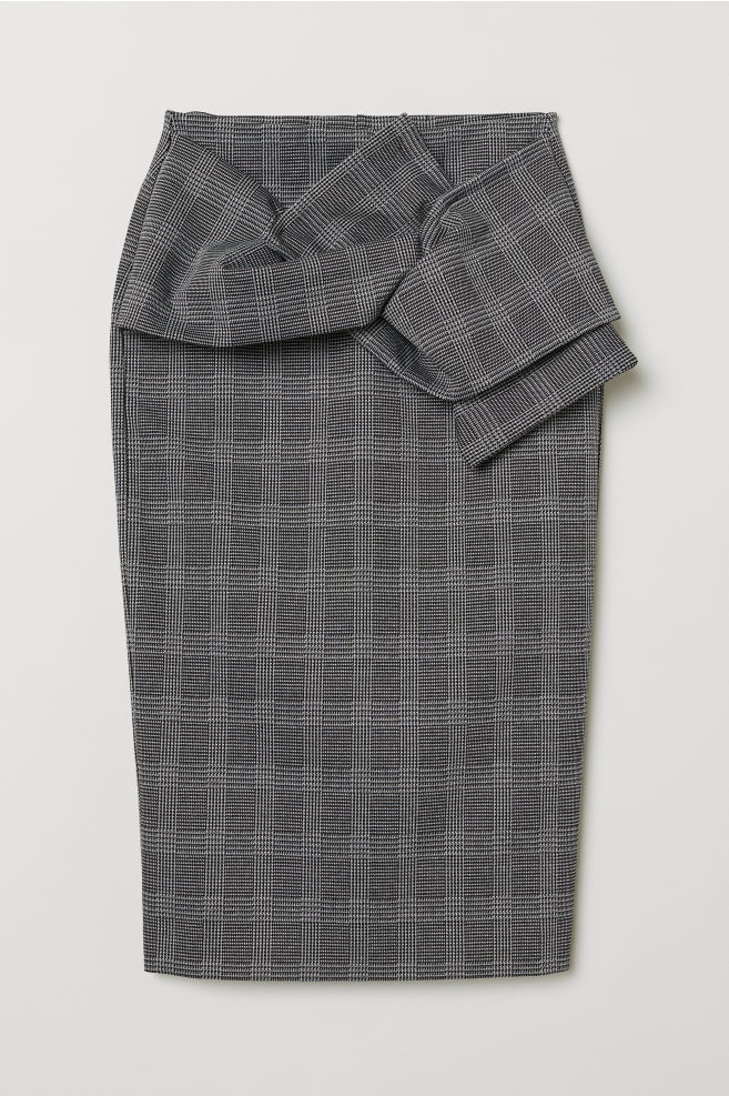 ebc3d4f4ccf1 Pencil skirt with knot detail - Dark grey/Checked - Ladies | H&M ...