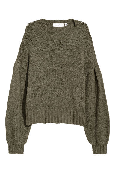 Loose-knit jumper - Khaki green -  | H&M