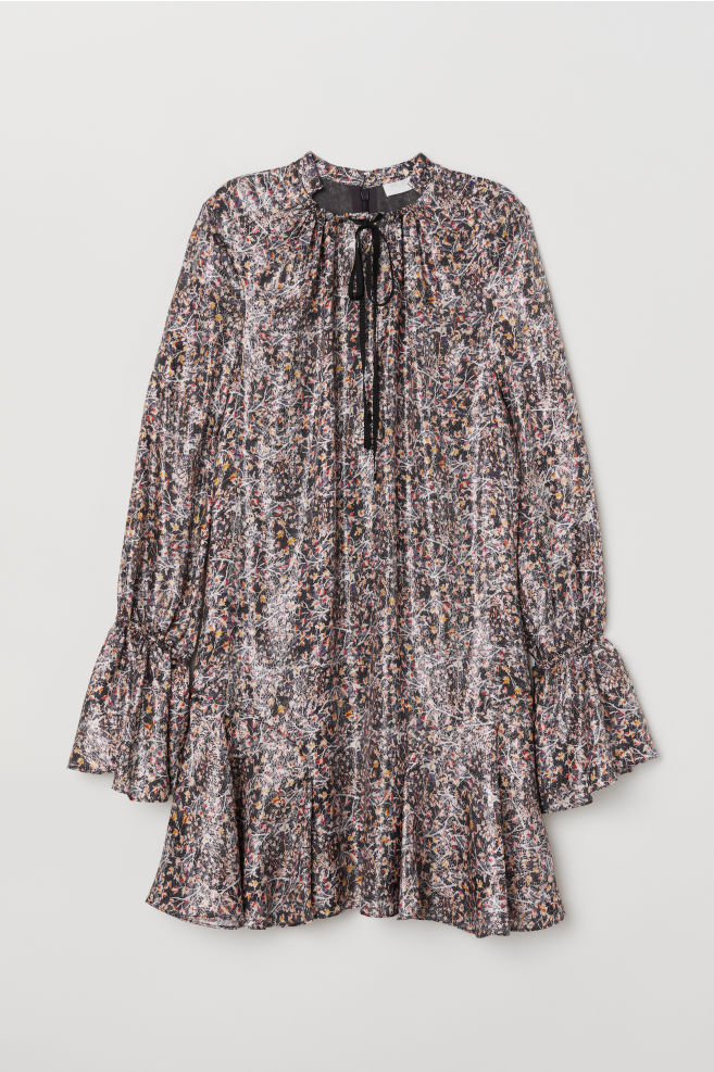ce400180d275 Kjole i silkeblanding - Mørkeblå/Mønstret - | H&M DK 1