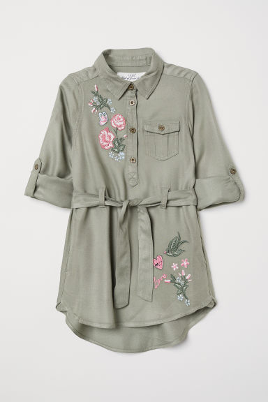Shirt Dress with Belt - Light khaki green - Kids | H&M CA