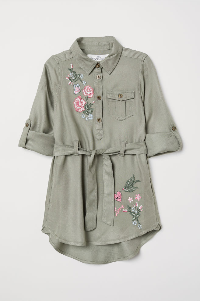 Shirt Dress with Belt - Light khaki green - | H&M CA 4