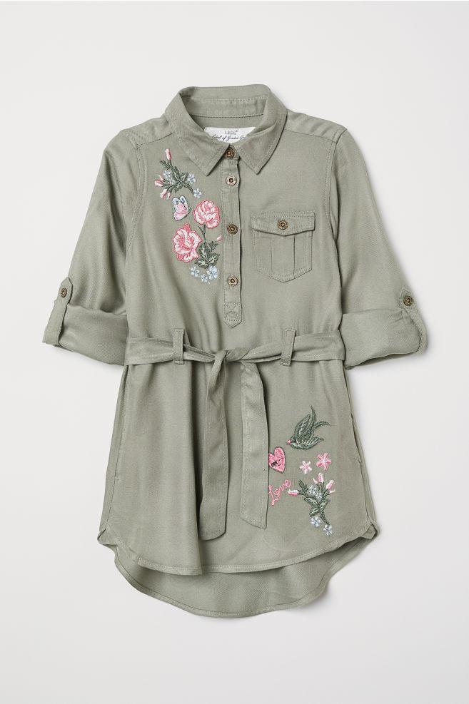 Shirt Dress with Belt - Light khaki green - | H&M CA 4