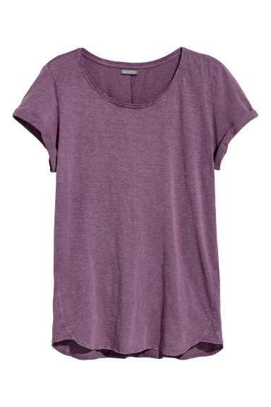 Slub jersey T-shirt - Purple -  | H&M