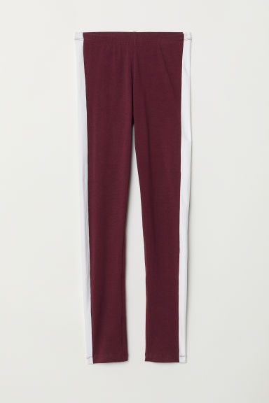 Jersey leggings - Burgundy/White - Kids | H&M