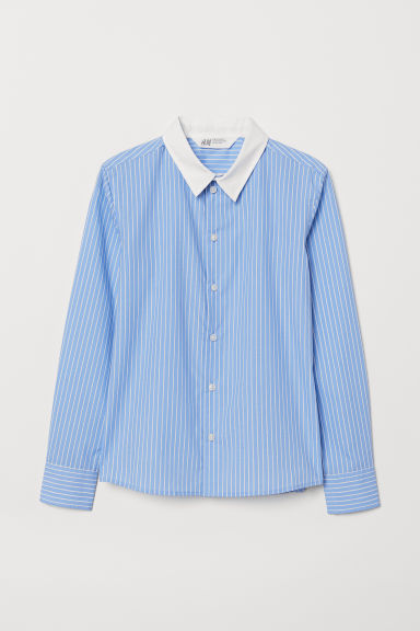 Easy-iron shirt - Blue/White striped - Kids | H&M CN