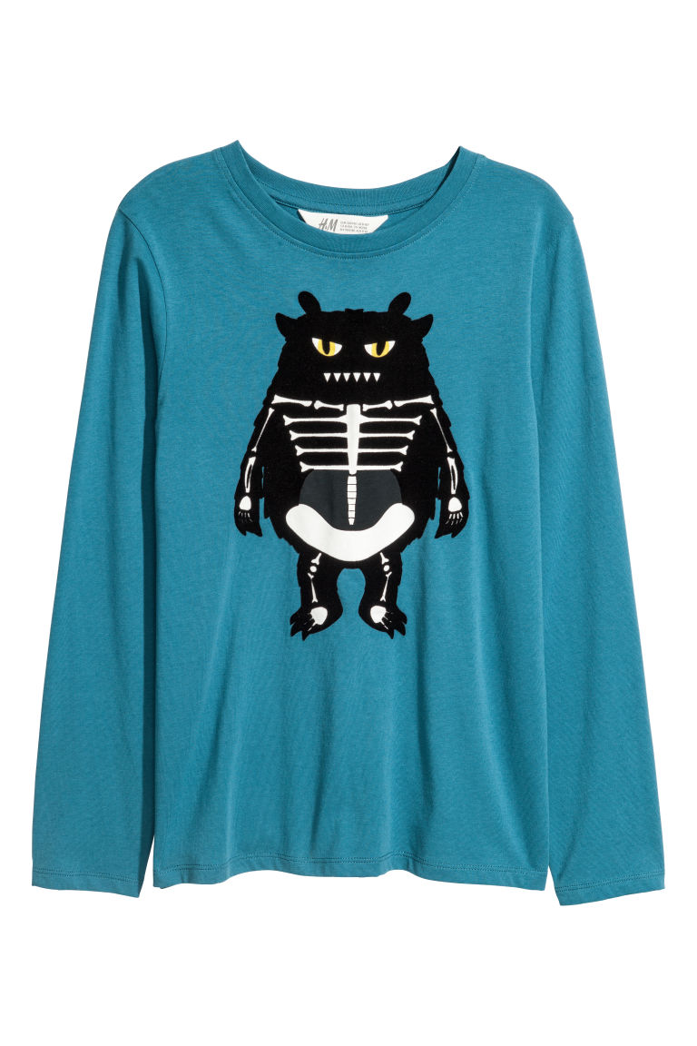 Printed jersey top - Turquoise/Monster - Kids | H&M