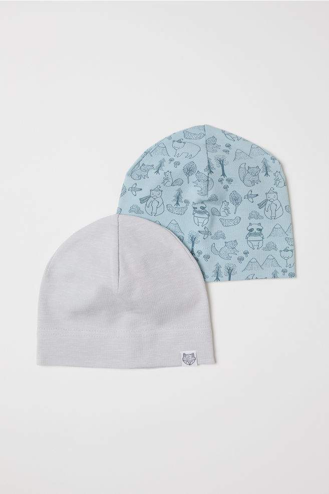 2-pack Jersey Hats - Light turquoise patterned - Kids  d159a19017e