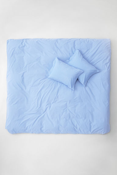 Cotton poplin duvet cover set - Light blue - Home All | H&M CN