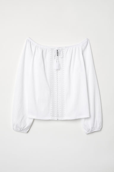 Off-the-shoulder top with lace - White - Ladies | H&M