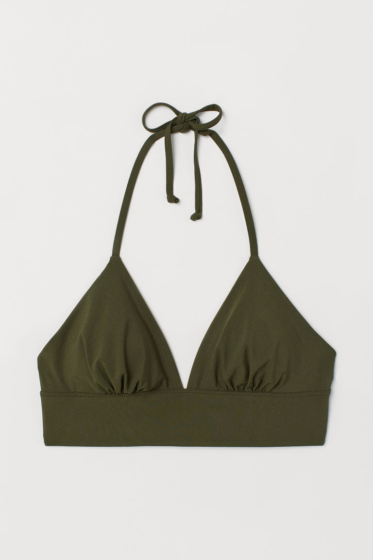 Triangle bikini top - Khaki green - Ladies | H&M IN