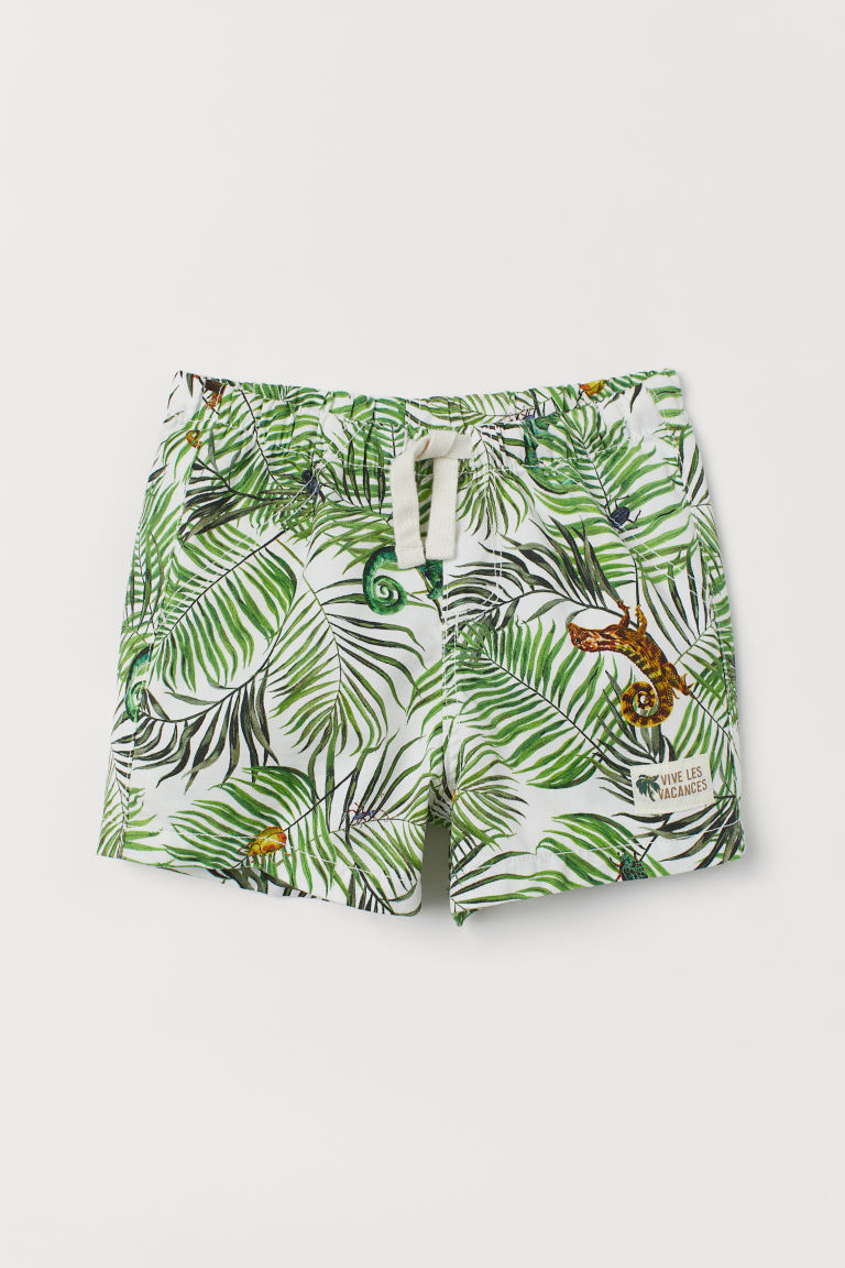 Patterned cotton shorts - White/Leaf-patterned - Kids | H&M