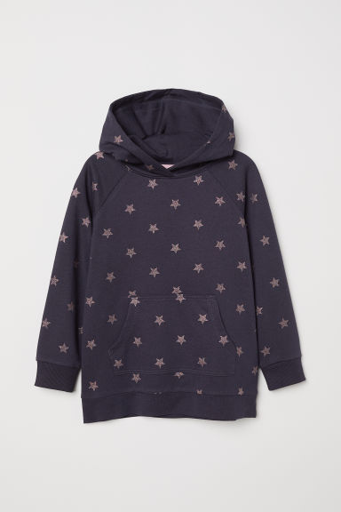 Hooded top - Dark blue/Stars - Kids | H&M CN