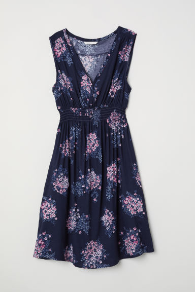 MAMA Patterned dress - Dark blue/Floral - Ladies | H&M