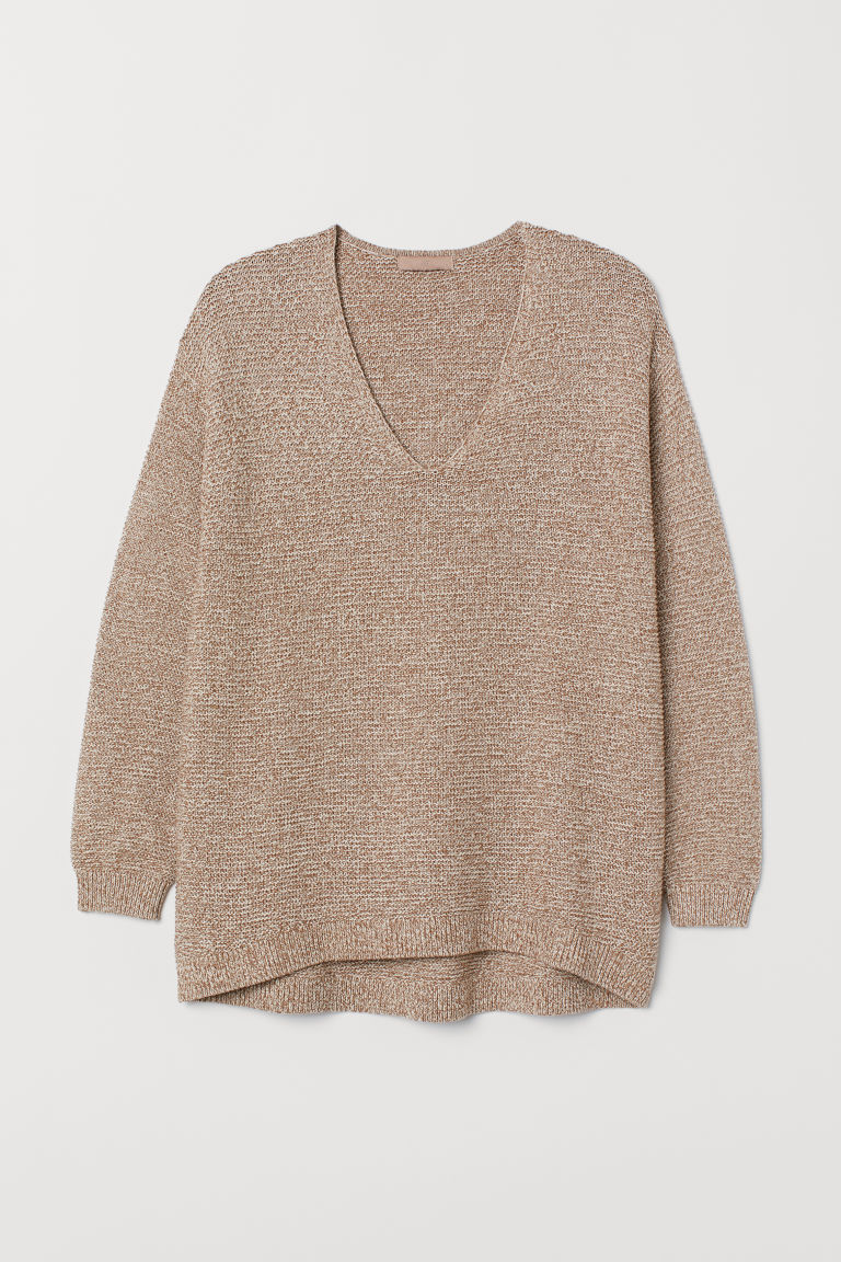 H&M+ Textured-knit Sweater - Beige melange - Ladies | H&M CA