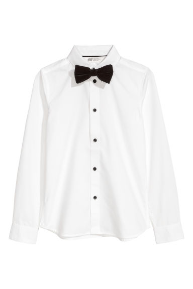 Shirt with a tie/bow tie - White/Bow tie -  | H&M