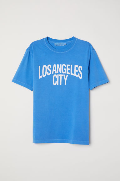 Printed T-shirt - Blue/Los Angeles - Men | H&M CN