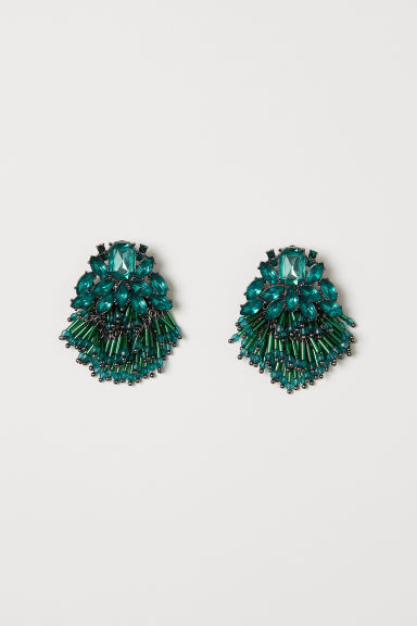 Earrings with sparkly stones - Dark green - Ladies | H&M CN