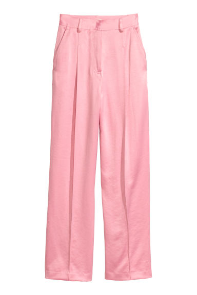 Wide satin suit trousers - Light pink - Ladies | H&M CN