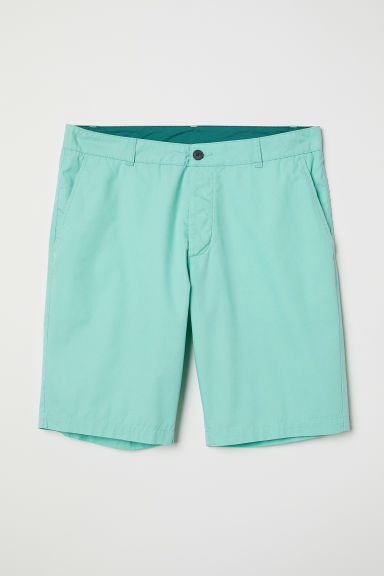 Knee-length cotton shorts - Light green - Men | H&M