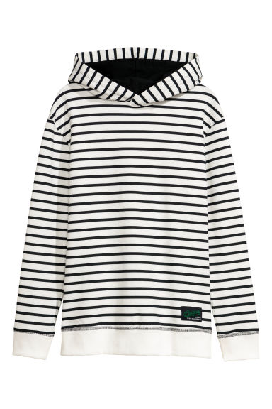 Printed hooded top - Natural white/Blue striped - Kids | H&M