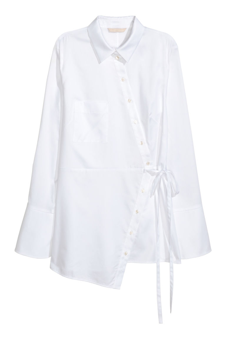Shirt with a tie belt - White - Ladies | H&M