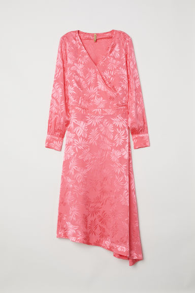 Jacquard-weave dress - Pink/Leaf-patterned - Ladies | H&M CN