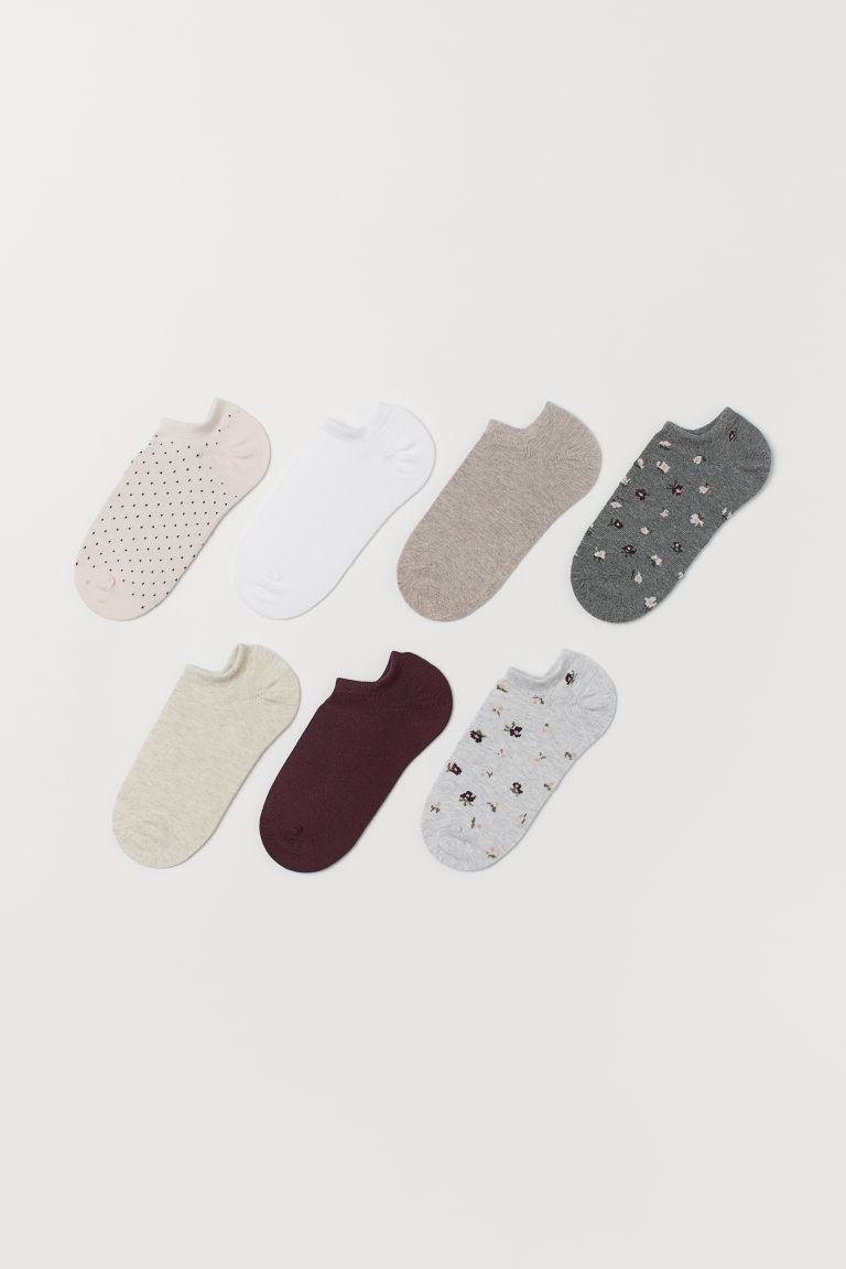 7-pack trainer socks - Light grey/Floral - Ladies | H&M