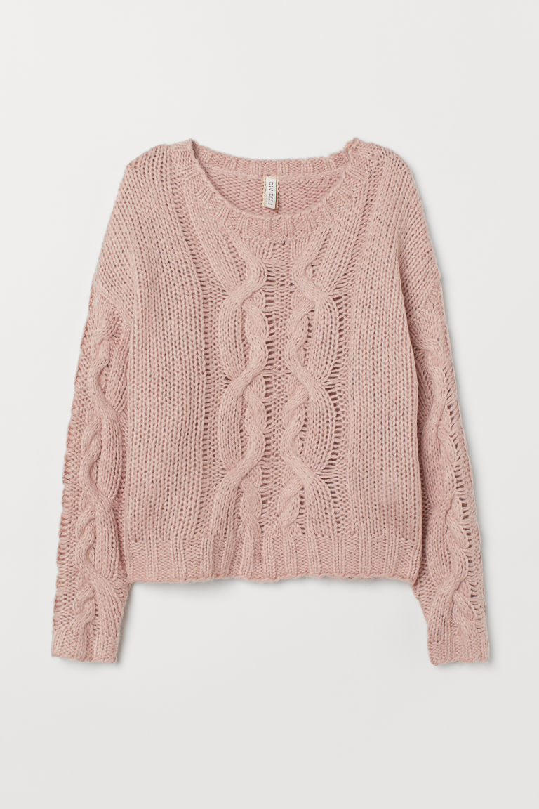 Cable-knit jumper - Powder pink -  | H&M GB