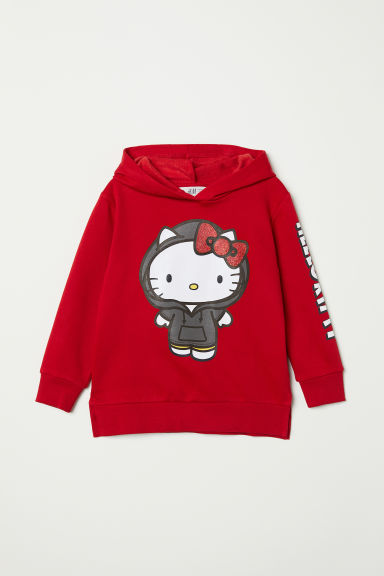 Hooded top with motifs - Red/Hello Kitty - Kids | H&M