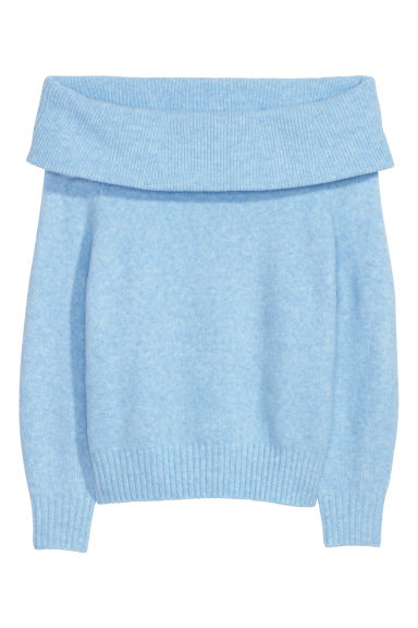 Off-the-shoulder jumper - Light blue marl -  | H&M CN