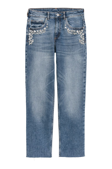 Jeans with sparkly stones - Dark denim blue - Ladies | H&M IE