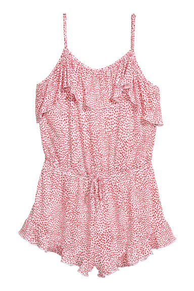 Jersey playsuit with a flounce - White/Hearts - Ladies | H&M IE