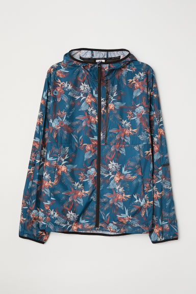 Running jacket - Dark turquoise/Patterned - Men | H&M