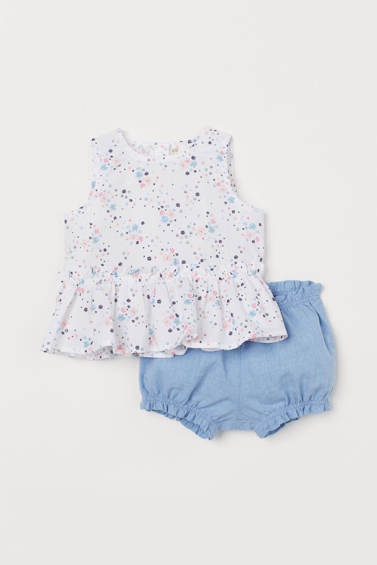 Peplum top and puff pants - White/Floral - Kids | H&M