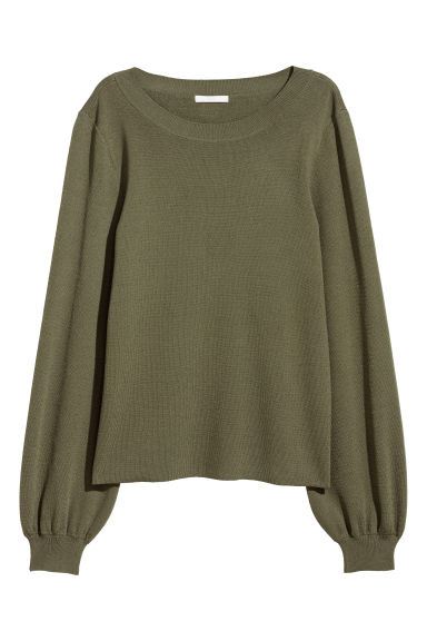 Fine-knit jumper - Khaki green - Ladies | H&M