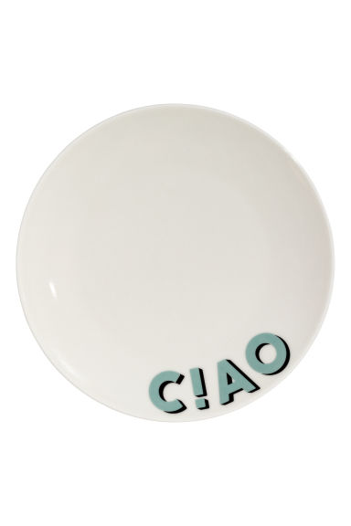 Porcelain plate with a motif - White/Ciao - Home All | H&M CN