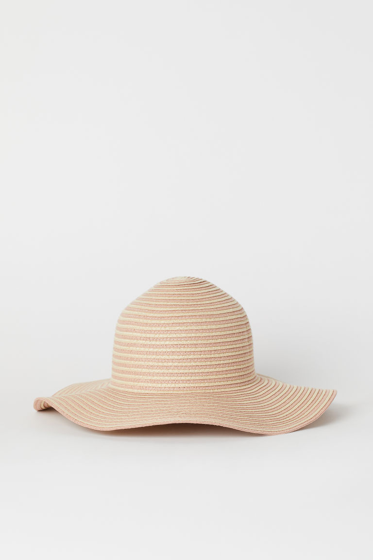 Straw hat - Powder pink/Light beige -  | H&M