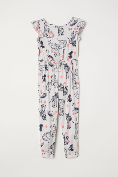 Patterned jumpsuit - Light beige/Animals - Kids | H&M