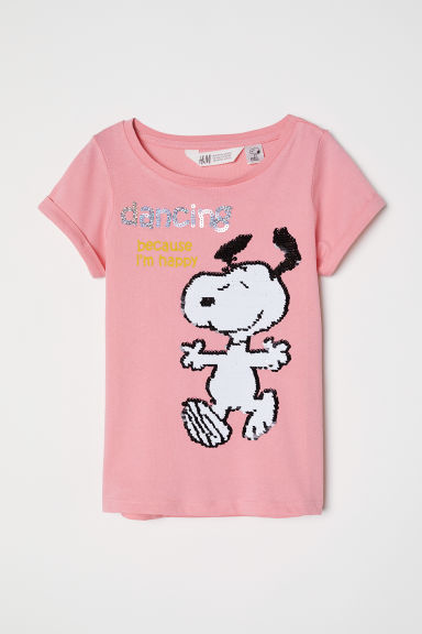 Top con paillettes reversibili - Rosa/Snoopy - BAMBINO | H&M IT