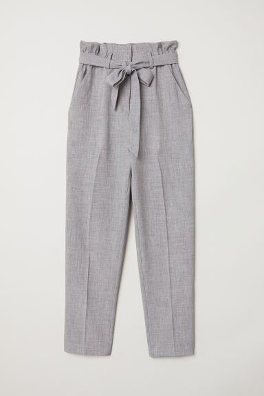 Paper bag trousers - Grey marl - Ladies | H&M CN