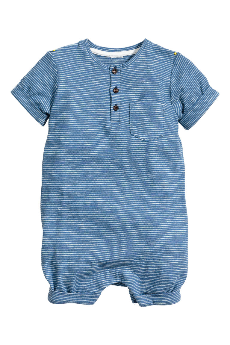 Slub jersey romper suit - Blue/Striped - Kids | H&M